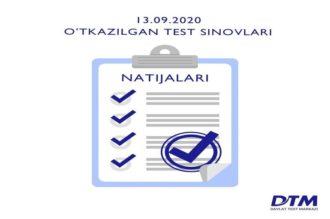 13-sentabr DTM test natijalari e'lon qilindi