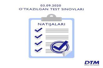 3-sentabr DTM test natijalari e'lon qilindi