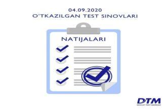 4-sentabr DTM test natijalari e'lon qilindi