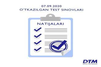 7-sentabr DTM test natijalari e'lon qilindi