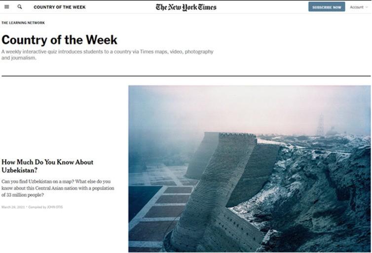 """""""The New York Times"""" oʻz oʻquvchilarining Oʻzbekiston haqidagi bilimini sinab koʻrdi"""