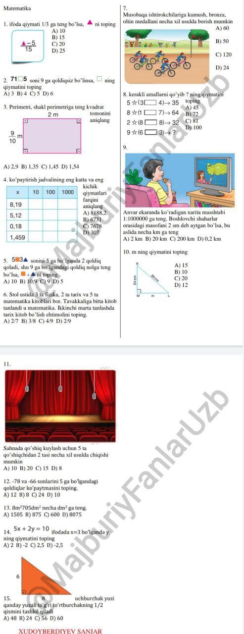 Majburiy fan matematika fanidan testlar javoblari bilan